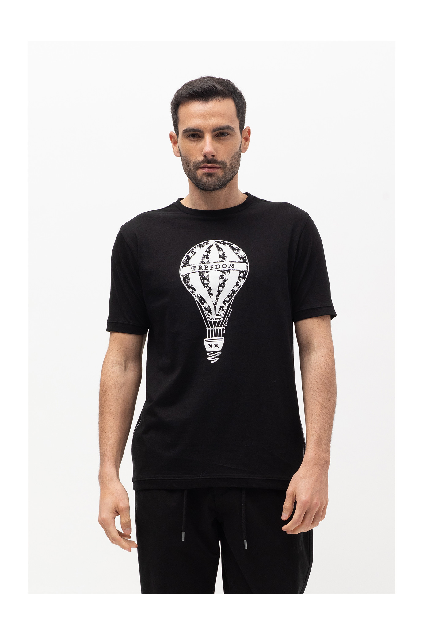T-SHIRT CON STAMPA FRONTALE MONGOLFIERA